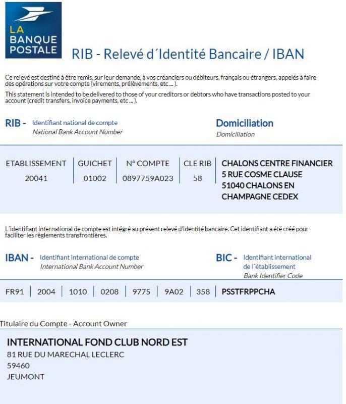 IFCNE RIB BANQUE POSTALE